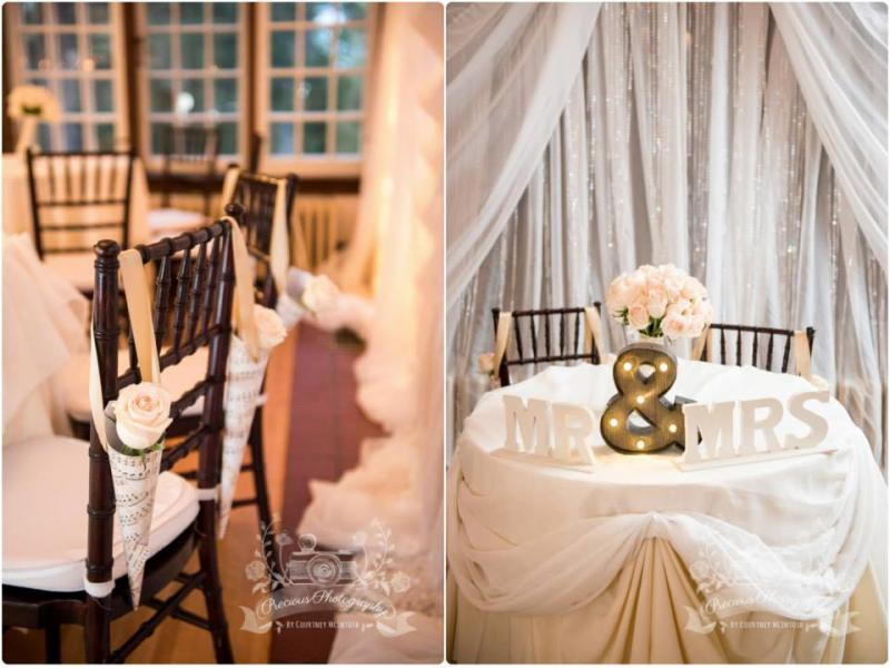 Duo photo, 1. mahogany chiavari ballroom chair with a white rose, 2. sweetheart head table with Mr. & Mrs. Sign