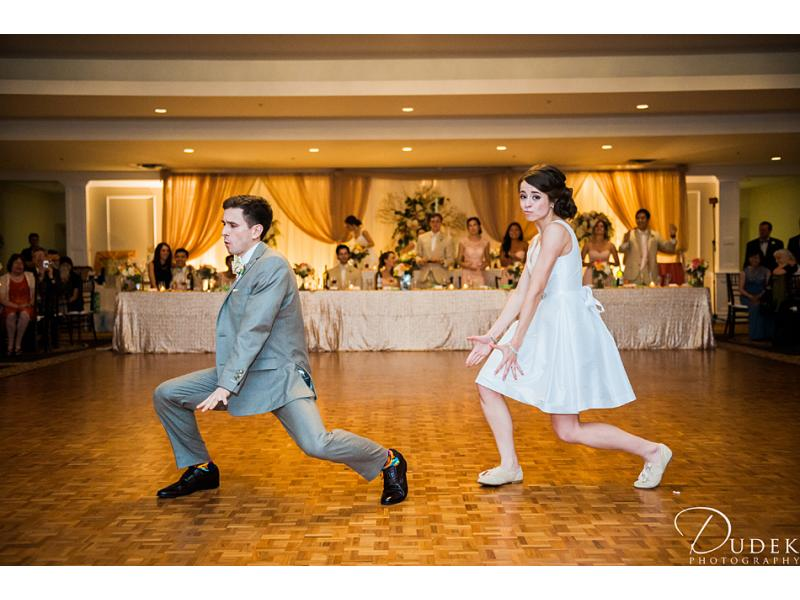 Bride and groom doing a choreographed dance