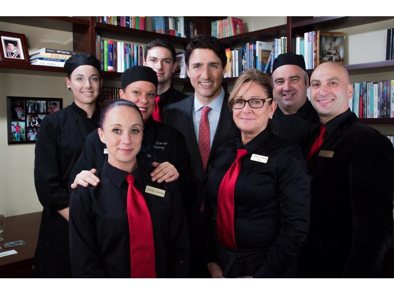 catering staff with Justin Trudeau