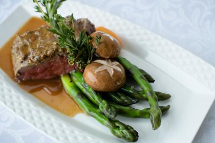 a dinner plate with beef, mushrooms and asparagus