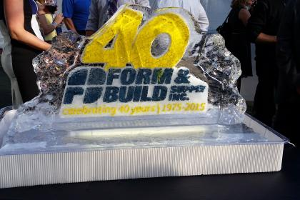 ice sculpture that says 40 Form & Build celebrating 40 years