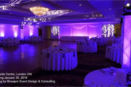 a large room light with purple lighting