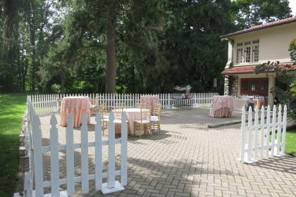 Picket White Fence with Blush Linen